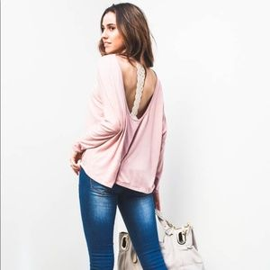 FLASH SALE • Blush/Dusty Pink Top w/Lace Detail